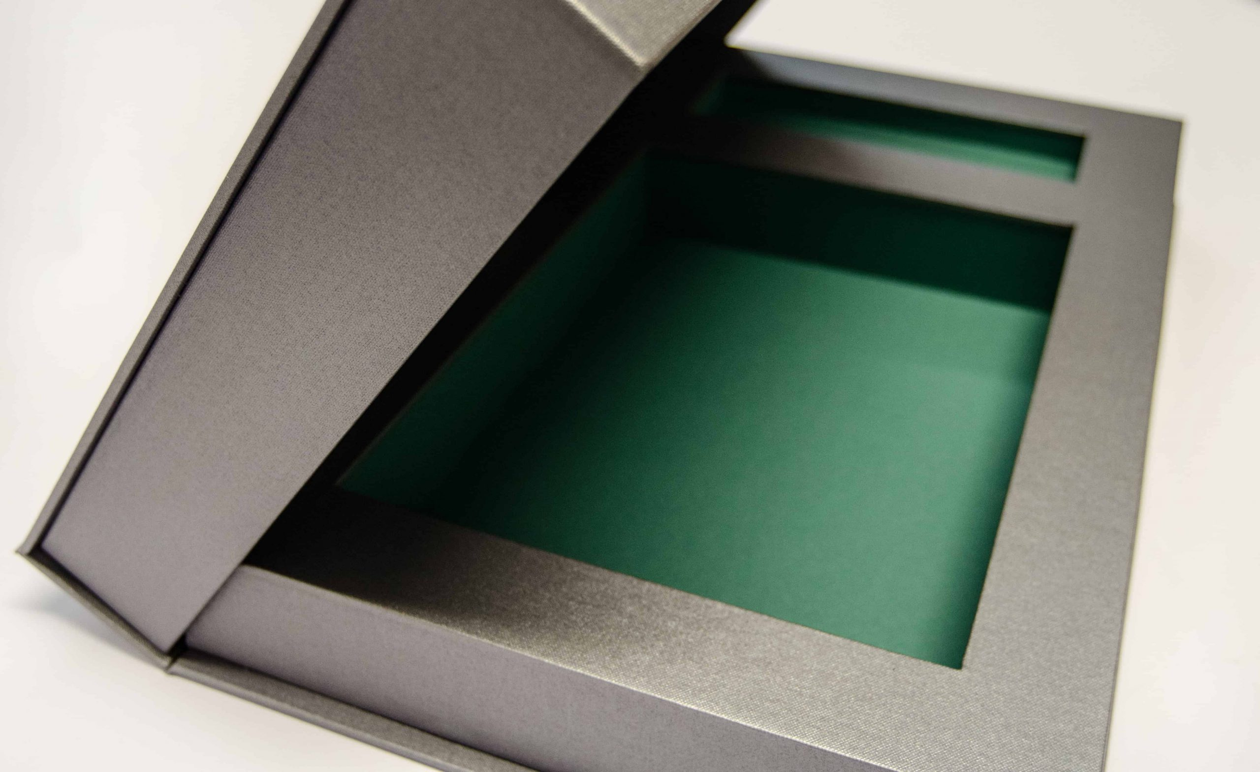 Bespoke finish Metallic Buckram Clamshell box
