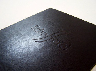 Ebony Faux Leather with Blind Deboss Logo